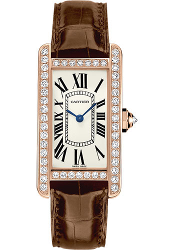 Cartier Tank Américaine 18K Pink Gold & Diamonds Ladies Watch, WJTA0002