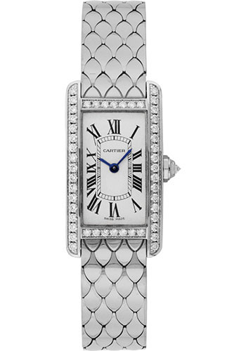 Cartier Tank Américaine 18K White Gold & Diamonds Ladies Watch, WB710009