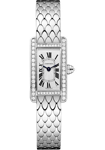 Cartier Tank Américaine 18K White Gold & Diamonds Ladies Watch, WB710013