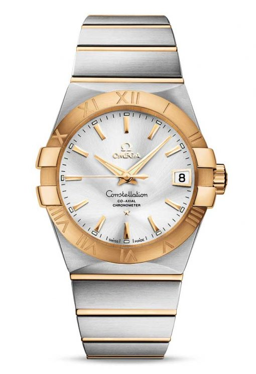 Omega Constellation Co-Axial 18K Yellow Gold & Stainless Steel & Diamonds Unisex Watch, 123.20.38.21.02.002