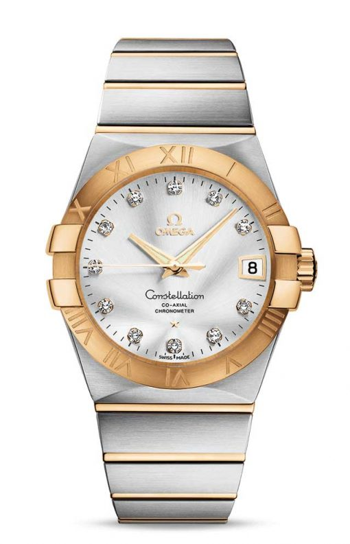 Omega Constellation Co-Axial 18K Yellow Gold & Stainless Steel & Diamonds Unisex Watch, 123.20.38.21.52.002