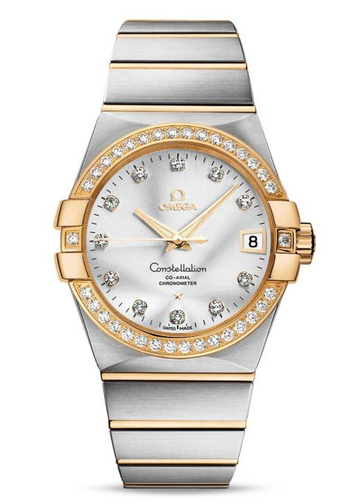 Omega Constellation Co-Axial 18K Yellow Gold & Stainless Steel & Diamonds Unisex Watch, 123.25.38.21.52.002