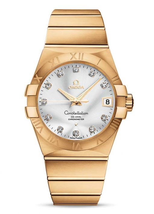 Omega Constellation Co-Axial 18K Yellow Gold & Diamonds Unisex Watch, 123.50.38.21.52.002