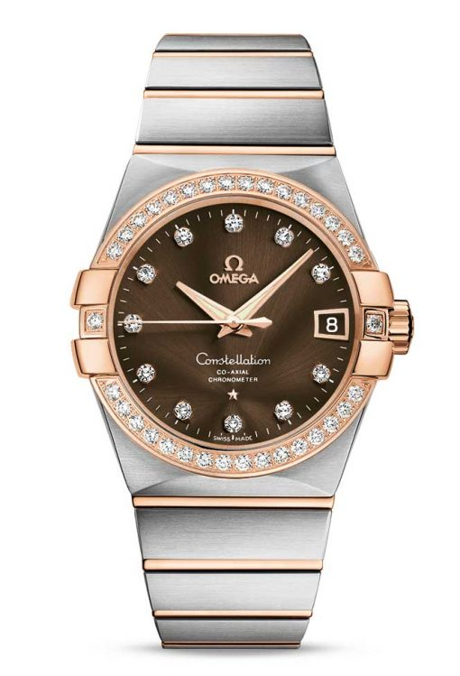 Omega Constellation Co-Axial 18K Red Gold & Stainless Steel & Diamonds Unisex Watch, 123.25.38.21.63.001