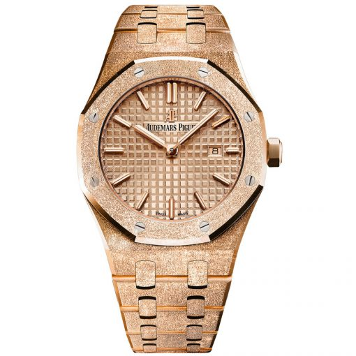 Audemars Piguet Royal Oak Quartz 18K Pink Frosted Gold Ladies Watch, 67653OR.GG.1263OR.02