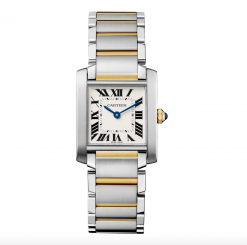 Cartier Tank Francaise Medium Model 18K Yellow Gold Stainless Steel Lady's Watch W2TA0003