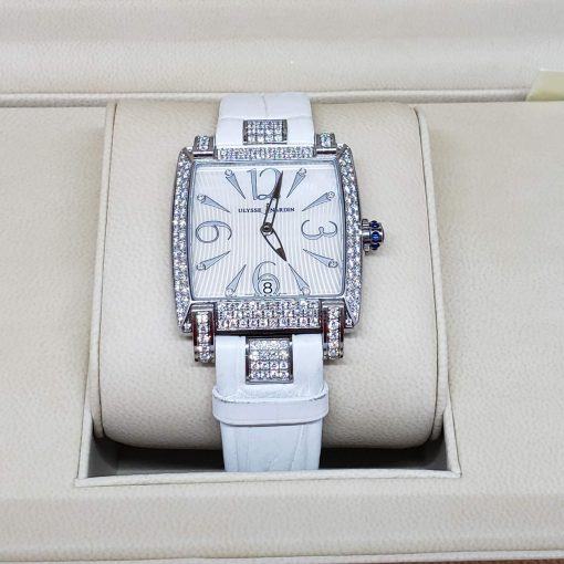 Ulysse Nardin Caprice White Stainless Steel Diamond Lady's Watch, pre-owned.133-91AC/691 10