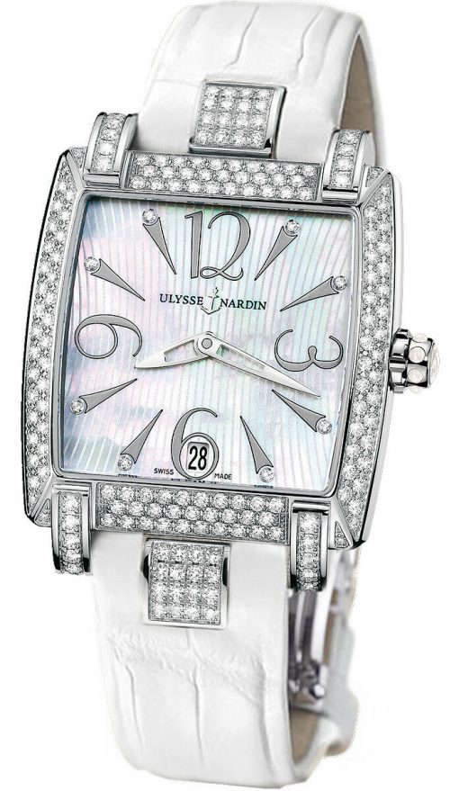 Ulysse Nardin Caprice White Stainless Steel Diamond Lady's Watch, pre-owned.133-91AC/691