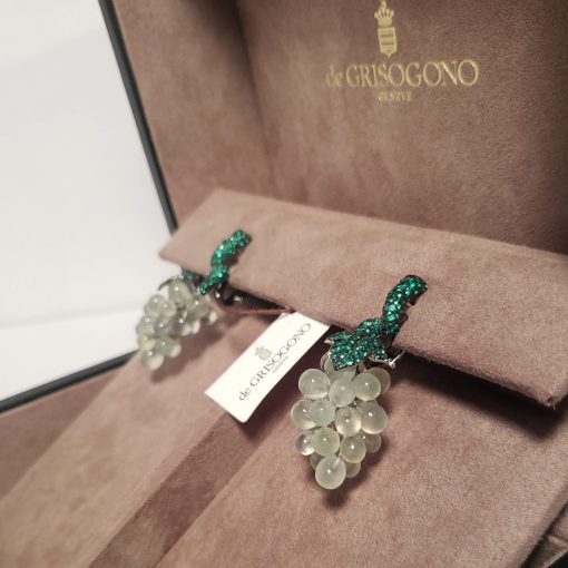 De Grisogono Grapes Earrings with White Gold, Pranites and Emerald, 15412/02 4