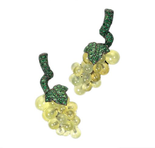 De Grisogono Grapes Earrings with White Gold, Pranites and Emerald, 15412/02