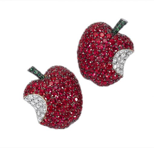 De Grisogono Apple Earrings with White Gold, Rubies and Diamonds, 15410/02