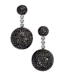 De Grisogono Boule Earrings With Black And White Diamonds 12119/04