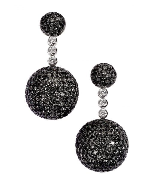De Grisogono Boule Earrings With Black And White Diamonds, 12119/04