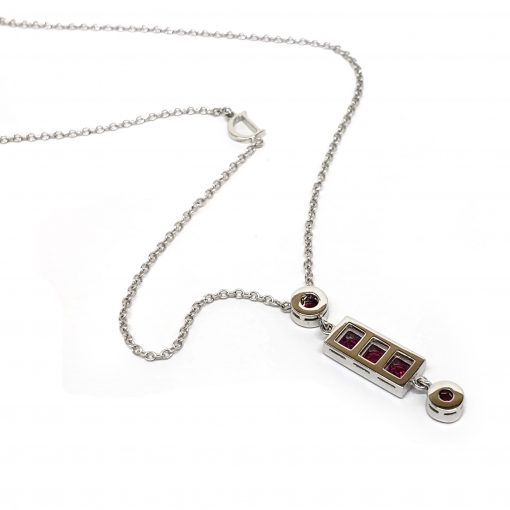 Damiani Belle Epoque Pendant With 18K White Gold, Diamonds and Rubies, 20056264 4