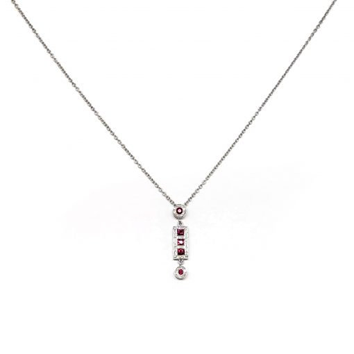 Damiani Belle Epoque Pendant With 18K White Gold, Diamonds and Rubies, 20056264