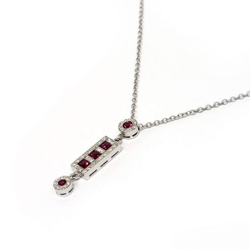 Damiani Belle Epoque Pendant With 18K White Gold, Diamonds and Rubies, 20056264 2
