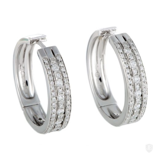 Damiani Hoop Earrings With 18K White Gold And Diamonds, 20030284