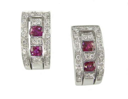 Damiani Belle Epoque Earrings With 18K White Gold Diamonds And Rubies, 20000851