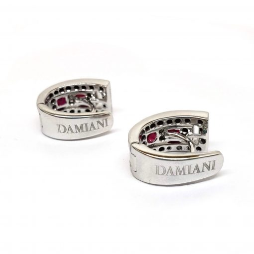 Damiani Belle Epoque Earrings With 18K White Gold Diamonds And Rubies, 20000851 6