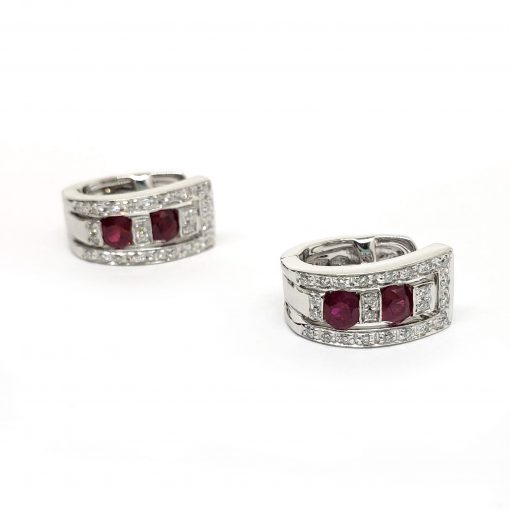 Damiani Belle Epoque Earrings With 18K White Gold Diamonds And Rubies, 20000851 4