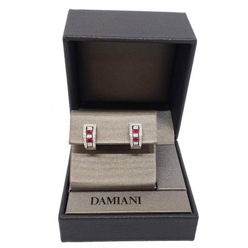 Damiani Belle Epoque Earrings With 18K White Gold Diamonds And Rubies, 20000851 2