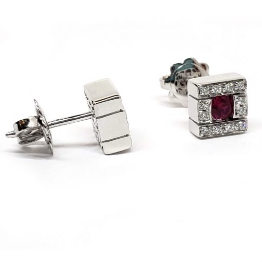 Damiani Belle Epoque Stud Earrings With 18K White Gold, Diamonds And Rubies, 20019094 7