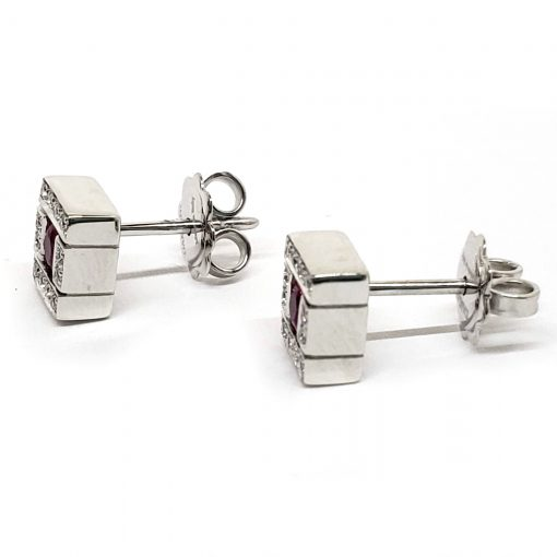 Damiani Belle Epoque Stud Earrings With 18K White Gold, Diamonds And Rubies, 20019094 5