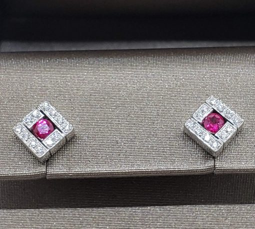 Damiani Belle Epoque Stud Earrings With 18K White Gold, Diamonds And Rubies, 20019094 3