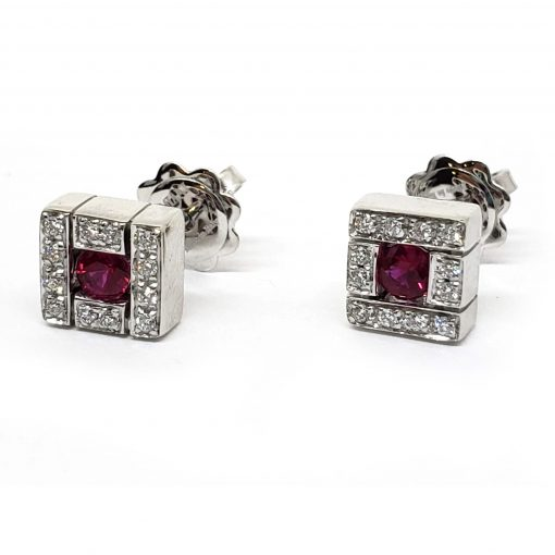 Damiani Belle Epoque Stud Earrings With 18K White Gold, Diamonds And Rubies, 20019094 4