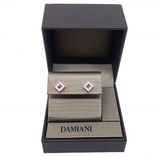 Damiani Belle Epoque Stud Earrings With 18K White Gold, Diamonds And Rubies, 20019094 2