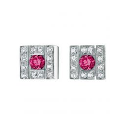 Damiani Belle Epoque Stud Earrings With 18K White Gold, Diamonds And Rubies 20019094