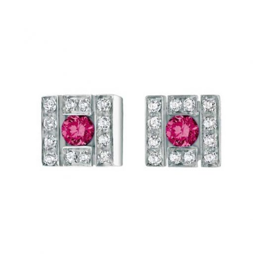 Damiani Belle Epoque Stud Earrings With 18K White Gold, Diamonds And Rubies, 20019094