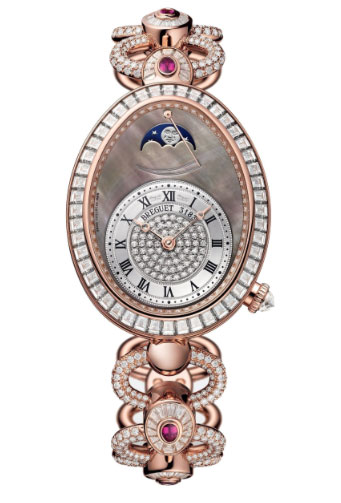 Brequet Reine de Naples 8909 18K Rose Gold & Diamonds & Rubies Ladies Watch, 8909BR/8T/J29/DDDR