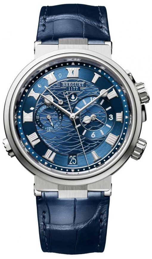 Brequet Marine 5547 Marine Alarme Musicale 18K White Gold Men's Watch, 5547BB/Y2/9ZU