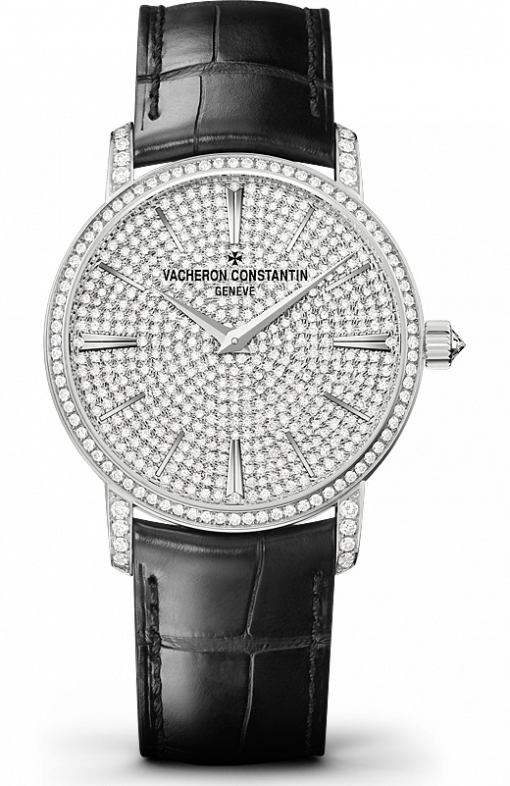 Vacheron Constantin Traditionnelle 18K White Gold & Diamonds Men's Watch, 82673/000G-9821