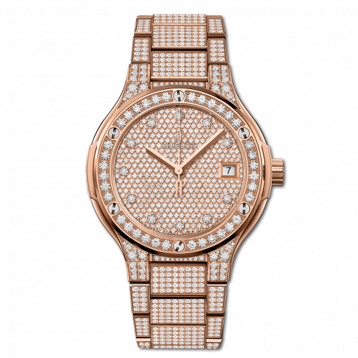 Hublot Classic Fusion 18K King Gold & Diamonds Ladies Watch, 568.OX.9000.OX.3604
