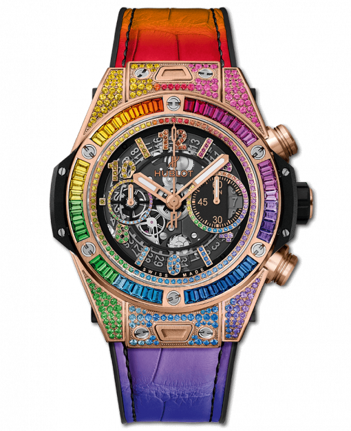 Hublot Big Bang One Click Rainbow 18K King Gold & Gemstones Unisex Watch, 411.OX.9910.LR.0999