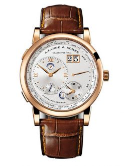 A. Lange and Sohne Lange 1 Time Zone 18K Rose Gold Men's Watch preowned.116.032-1