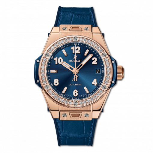 Hublot Big Bang One Click Bleu 18K King Gold & Diamonds Men`s Watch, 465.OX.7180.LR.1204