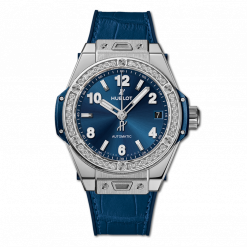 Hublot Big Bang One Click Bleu Stainless Steel & Diamonds Men`s Watch 465.SX.7170.LR.1204