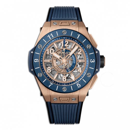 Hublot Big Bang Unico GMT 18K King Gold & Blue Ceramic Men`s Watch, 471.OL.7128.RX
