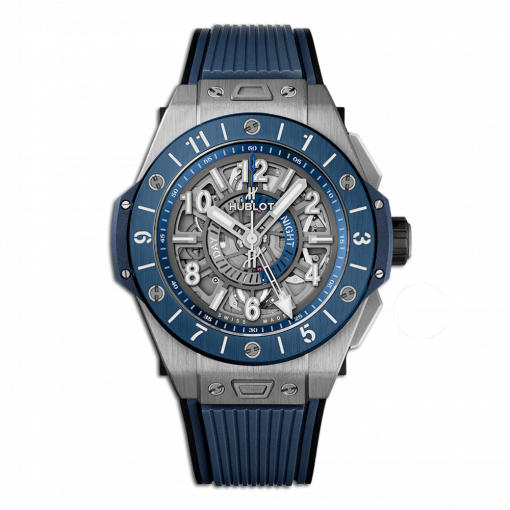 Hublot Big Bang Unico GMT Titanium & Blue Ceramic Men`s Watch, 471.NL.7112.RX