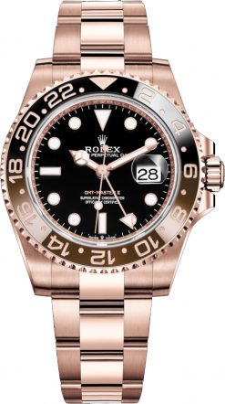 Rolex Oyster Perpetual Date GMT-Master II 18K Everose Gold Men's Watch 126715CHNR