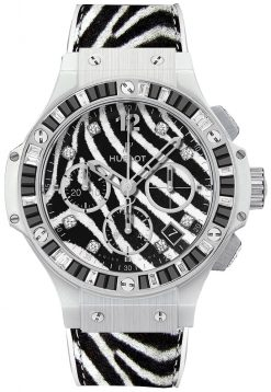 Hublot Big Bang Zebra Stainless Steel & Spinels & Topazes Ladies Watch preowned-341.HW.7517.VR.1975