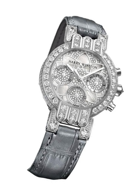 Harry Winston Premier Excenter Lotus 18K White Gold & Diamonds Ladies Watch, preowned-200/UCQ32WL.MD02/00