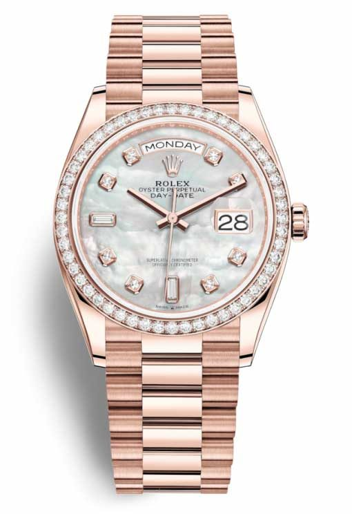 Rolex Day-date 18K Everose Gold & Diamonds Men's Watch, Preowned-128345RBR