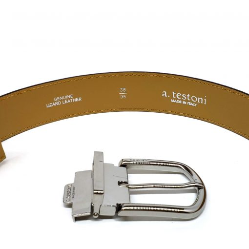 Testoni Brown Shiny Lizard Men's Belt, CDE00061 6