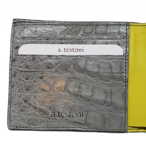 Testoni Bi-Fold Grey Crocodile Leather Sport Casual Wallet, WUBE200-pearl 3