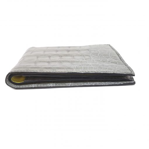 Testoni Bi-Fold Grey Crocodile Leather Sport Casual Wallet, WUBE200-pearl 2
