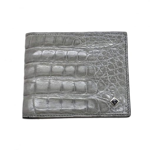 Testoni Bi-Fold Grey Crocodile Leather Sport Casual Wallet, WUBE200-pearl 7